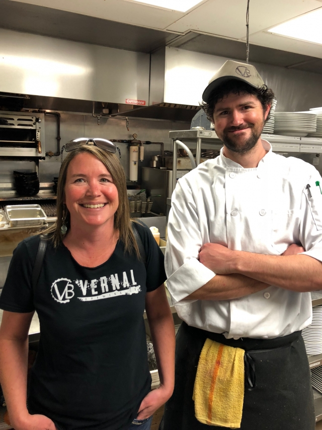 Ginger Bowden, owner of Vernal Brewing Company and Chef Mike Adams